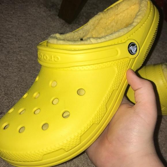 CROCS Shoes | Yellow Fur Crocs Mens